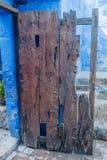 Old wooden door. In Santa Catalina monastery in Arequipa, Peru stock photo