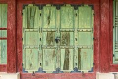 Old wooden door in Seoul, South Korea stock photos