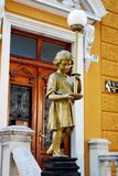 Old Wooden Door And Street Lamp Statue in Rijeka,Croatia Royalty Free Stock Photo