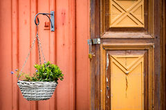 Old wooden door in Sweden, Europe Royalty Free Stock Photography