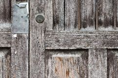 Old wooden door in the temple, Thailand. Stock Photography