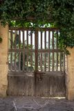 Old wooden door to the garden.  Royalty Free Stock Photography
