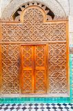 Old wooden door to the mosque in Arabic style Stock Images