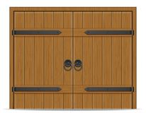 Old wooden door vector illustration. Isolated on white background Royalty Free Stock Photos