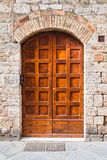 Old wooden door. Vintage house Royalty Free Stock Image