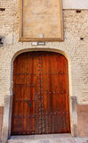 Old Wooden Door White Wall Walking Street Granada Spain Royalty Free Stock Photos