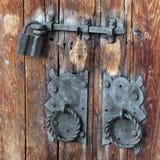 Old wooden doors. Door lock stock photography