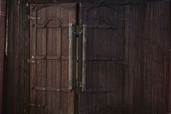 Old wooden doors with rings royalty free stock images
