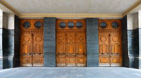 Old wooden doors of theater Royalty Free Stock Photography