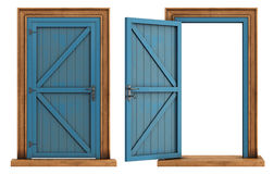 Old wooden doors on white background Royalty Free Stock Image
