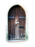 Old wooden doorway. Close up of old wooden doorway inset in wall of building Royalty Free Stock Photography