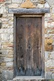 Old Wooden Doorway. At Mission San Juan in Texas stock photo