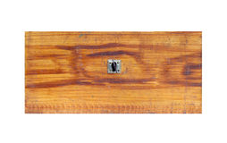 Old wooden drawer on white background - front view Royalty Free Stock Photo