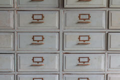 Old wooden drawers for storage. Stock Photo