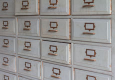 Old wooden drawers for storage. Royalty Free Stock Photo