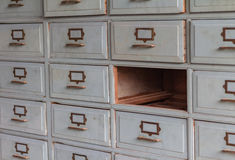 Old wooden drawers for storage to one channel Royalty Free Stock Photo