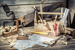 Old wooden drawing desk in carpenter workshop Royalty Free Stock Images
