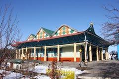 Old wooden Dungan Mosque in  Karakol city, Kyrgyzstan Royalty Free Stock Photo