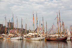 Old wooden dutch ships Stock Images