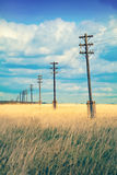 Old wooden electric pillar in the field,with  retro effect Royalty Free Stock Images