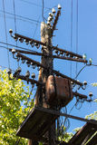 Old wooden electric pole, line of electricity Stock Images