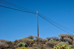 Old wooden electric pole Royalty Free Stock Photos