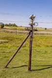 Old wooden electric pylon. Royalty Free Stock Image