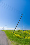 Old wooden electricity post and lines in the countryside Royalty Free Stock Image