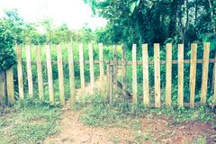 Old wooden enclosure with gate in forest in countryside. Green g royalty free stock photo