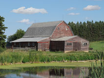 Old wooden farm barn in the American prairie. Old and weathered red wooden farm barn in the American mid-west prairie, with a marsh in the foreground, trees Stock Photography