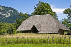 Old wooden farm house. An old wooden farm house surrounded by a wheat field in the beautiful swiss countryside Royalty Free Stock Photography