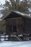 Old wooden farm houses in winter. Norwegian museum of history in Oslo capital of Norway Royalty Free Stock Photography