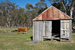 Old wooden farm hut Stock Images