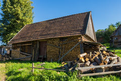 Old wooden farmhouse in the Carpathians Royalty Free Stock Image