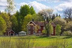 Old wooden farmhouses in Sweden Royalty Free Stock Photography