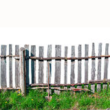 Old wooden fence. On white background stock photography