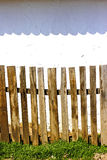 Old wooden fence. And wall stock photo