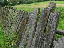 Old wooden fence on the background rustic field abandoned Royalty Free Stock Photos