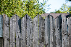 Old wooden fence. With barbed wire on top Stock Photo
