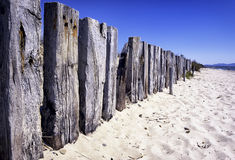 Old wooden fence at beach Royalty Free Stock Images