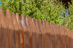 Old wooden fence  and birch on a bluesky background, Russian landscape Royalty Free Stock Photos