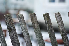 Old wooden fence on a blur background Stock Images