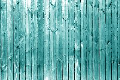 Old wooden fence in cyan tone. Royalty Free Stock Image