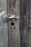 Old Wooden Fence Door With Metal Latch Stock Photos