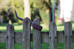 Old Wooden Fence Door With Metal Latch Royalty Free Stock Images