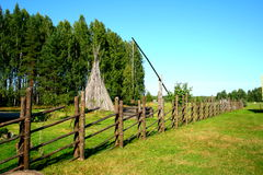 Old wooden fence in folk park Royalty Free Stock Photo