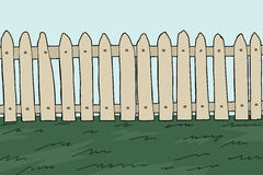 Old Wooden Fence. And grass cartoon background Stock Images