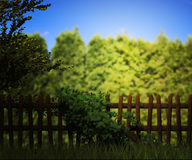Old Wooden Fence Green Background. Old Wooden Fence on Green Background Stock Photography