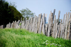 Old wooden fence on green meadow Royalty Free Stock Image