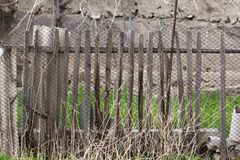 Old wooden fence. In the park in nature Stock Photo